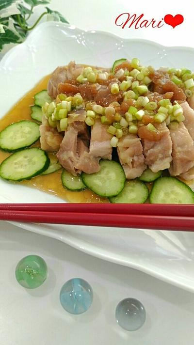旨っ!葱入り梅肉ソースの塩チキン☆レンジで簡単/クックパッド話題のレシピ