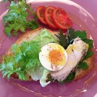 レンジ加熱でで「ハーブ風味の蒸し鶏」。テーブルでオープンサンドやサラダ仕立てに。