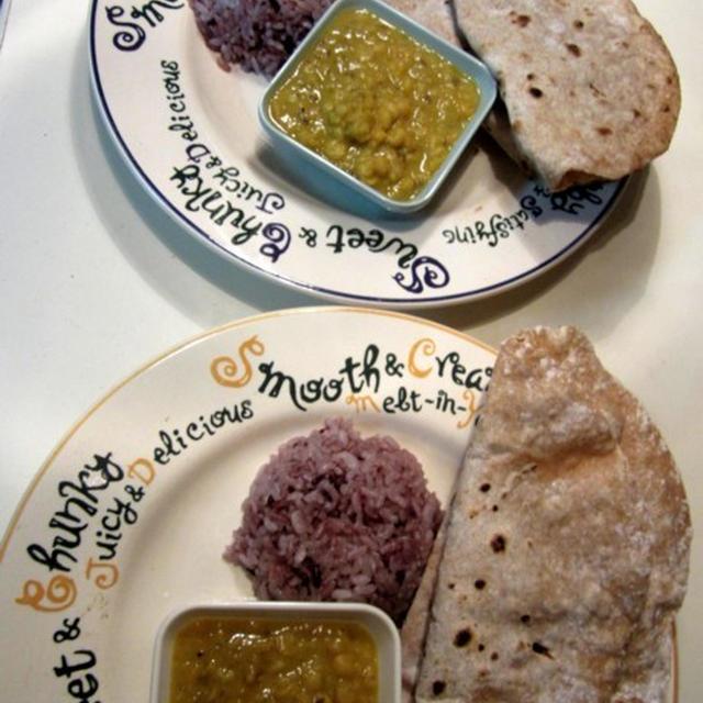 インド豆のカレー ダルカレー ダルカリー レンズ豆のカレー チャパティと茄子の和風トマト煮