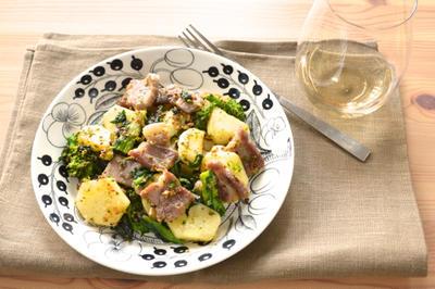 #406 塩豚と菜の花とジャガイモのマスタードソテー