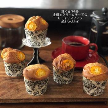 iPhoneX 焼くまで5分♡金柑とクリームチーズのマフィン!