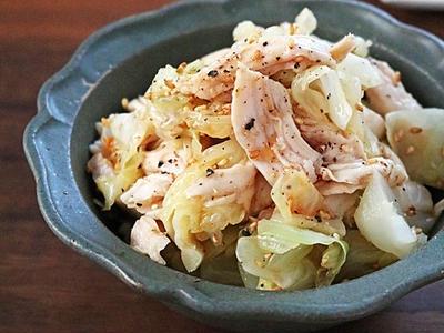 >食材2つ!作り置きに便利なもっちりささみとキャベツのごまポン和え by ぱおさん