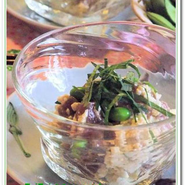 マグロの塩麹漬け&バジル豆腐のひ~んやり冷やし鉢♪♪