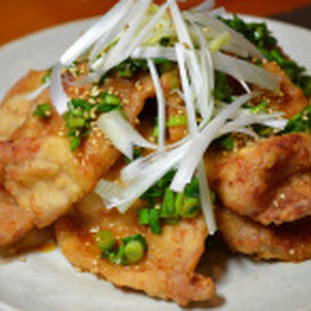 豚肉の唐揚げ、さっぱりお酢の香味野菜ソースがけ!
