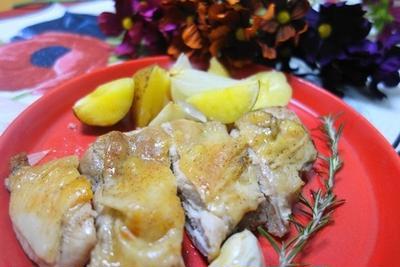 鶏もも肉とポテトのオーブン焼き♪いい匂い&息子のダイエット