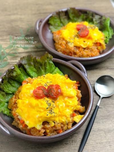 【レシピ】炊飯器ケチャップライスの楽チンのっけオムライス