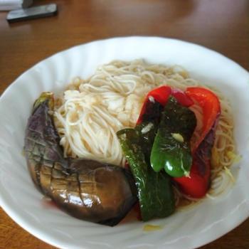 七夕に☆夏野菜の素揚げでぶっかけ素麺