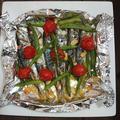 釣った魚で、トースターで簡単あじのアクアパッツア(いんげん豆、プロトマト)