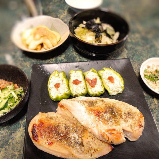 6月28日☆レンチン+トースターの塩麹チキン山椒風味焼き(モニター)と冷蔵庫一掃!で全7品&PICKUPレシピ結果報告