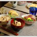 秋の京都のおばんざい定食☆松茸ごはん・ハモと松茸のお吸い物・ツバスの刺身・おから・出汁巻き