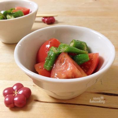 小さいおかず♪チアシード入りトマトとオクラのサラダ