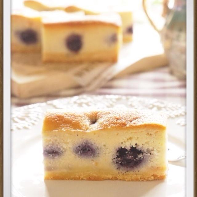 簡単!混ぜるだけ!ブルーベリーのアーモンドチーズケーキ