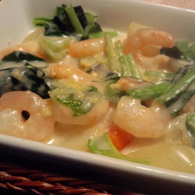 きのうのおつまみ  海老と小松菜のグラタン