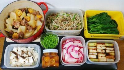 2015/2/15常備菜(大根と豚肉と金柑の煮物など)*りんごのリュスティック