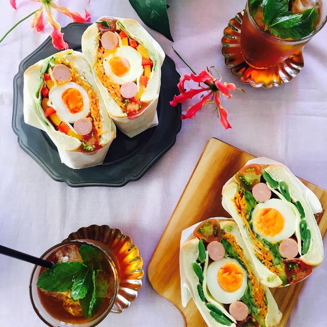 人参マリネとゆで卵のサンド