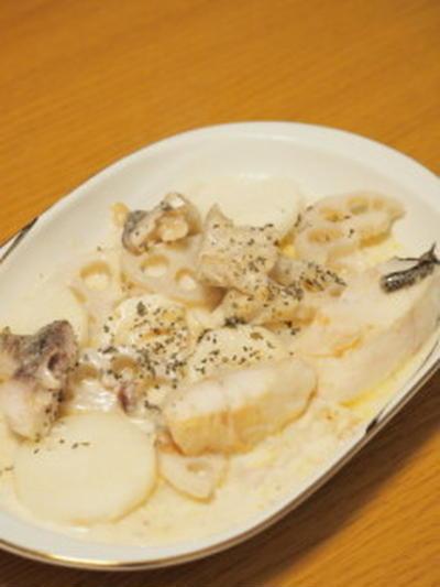 *.。o鱈と根菜のチーズソースがけ*.。o