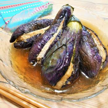 簡単!!茄子の鶏ひき肉と大葉のはさみ揚げ浸しの作り方/レシピ