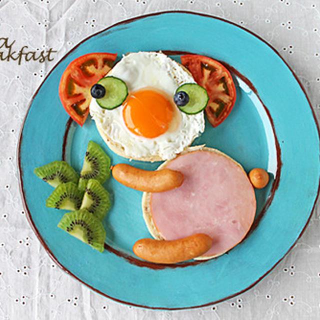 切って乗せるだけで簡単コアラの朝ごはん☆ひらめき朝食