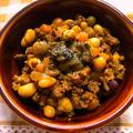 4種類の豆とひき肉のドライカレー
