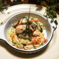 塩鮭と秋ナスの中華麺☆クリームパスタ風