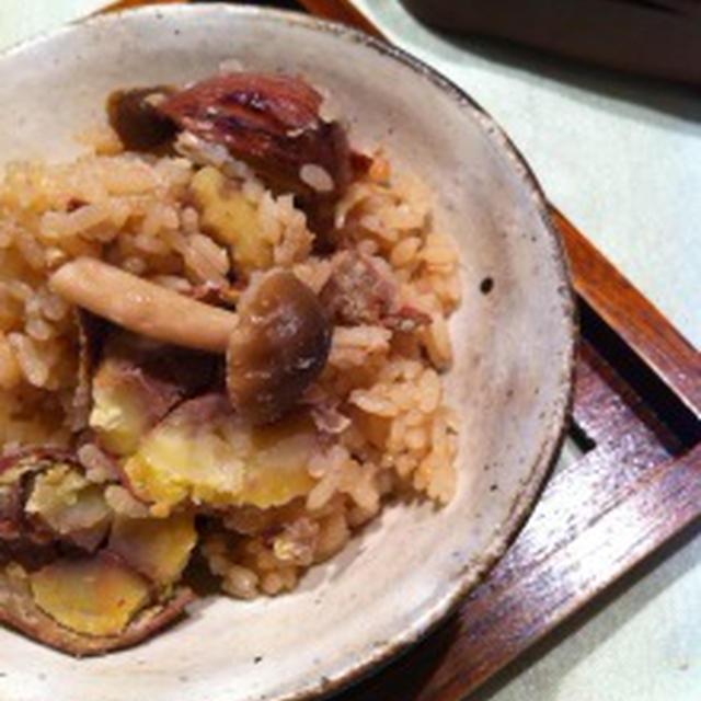 がっつりな食卓〜栗の渋皮煮の炊き込みごはん