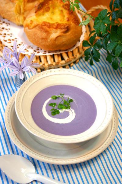 紫じゃがいもの冷製ビシソワーズ☆夏にぴったりスープ