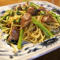 砂肝と空芯菜の中華風醤油味やきそば