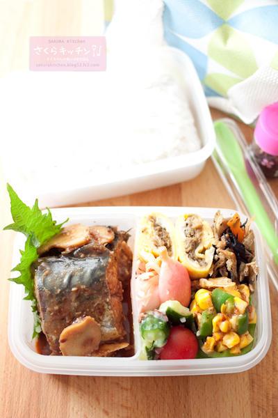 お弁当『2種類の味噌で、鯖の味噌煮(ほねほね弁当)』とういたんさんのお菓子。