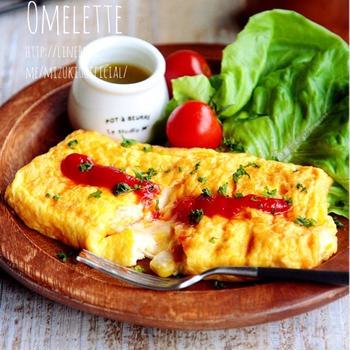 ♡卵焼き用フライパンdeマヨコーンチーズオムレツ♡【#簡単#朝食】