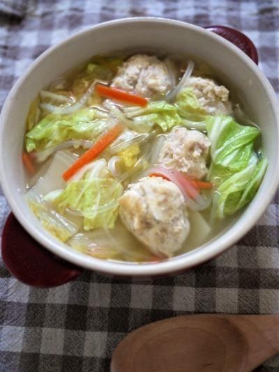 肉団子の冷凍保存も同時にできる(^,^)白菜と肉団子のスープ