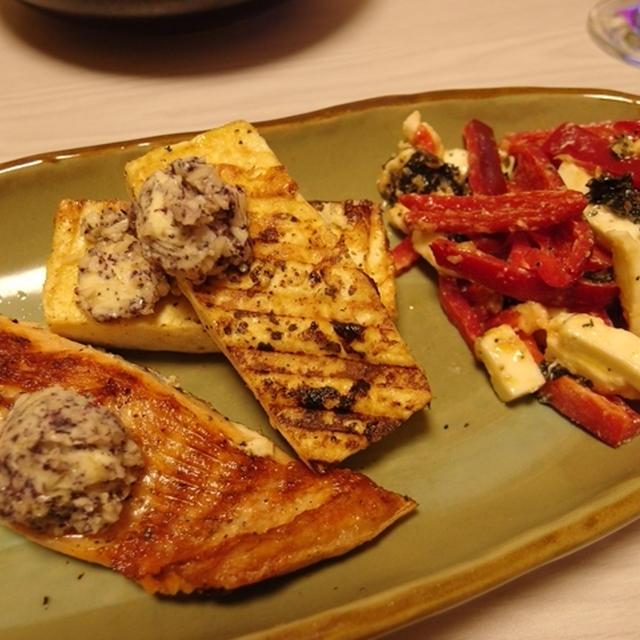 鮭と豆腐のグリル 新にんにくゆかりバター載せ・赤ピーマンとモッツァレラの海苔梅サラダ