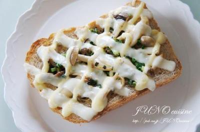 ☆グラハムパン de キノコとネギのチーズマヨトースト☆