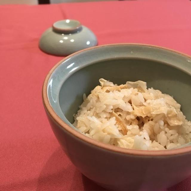 京都で教わった「湯葉の炊き込みごはん」。