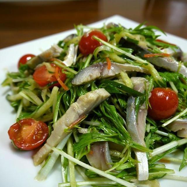 【祝】クックパッドつくれぽ10人話題入り★シメサバの水菜ときゅうりのサラダ♪