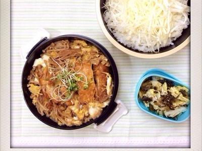 >鶏竜田とえのきの卵とじ丼のおべんと。 by izumi_obentoさん