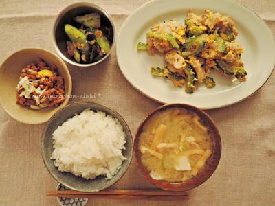 ゴーヤちゃんプルと干物漬け丼。