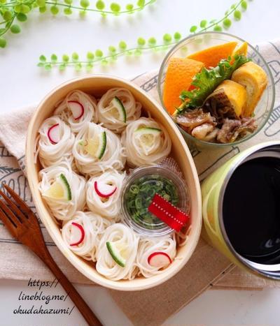 豚こまザーサイ生姜蒸しと素麺弁当【本日のお弁当】