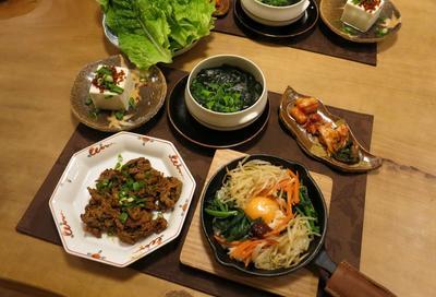 ニトスキで石焼風ビビンバの晩ご飯 と 我が家で紅葉ライトアップ♪