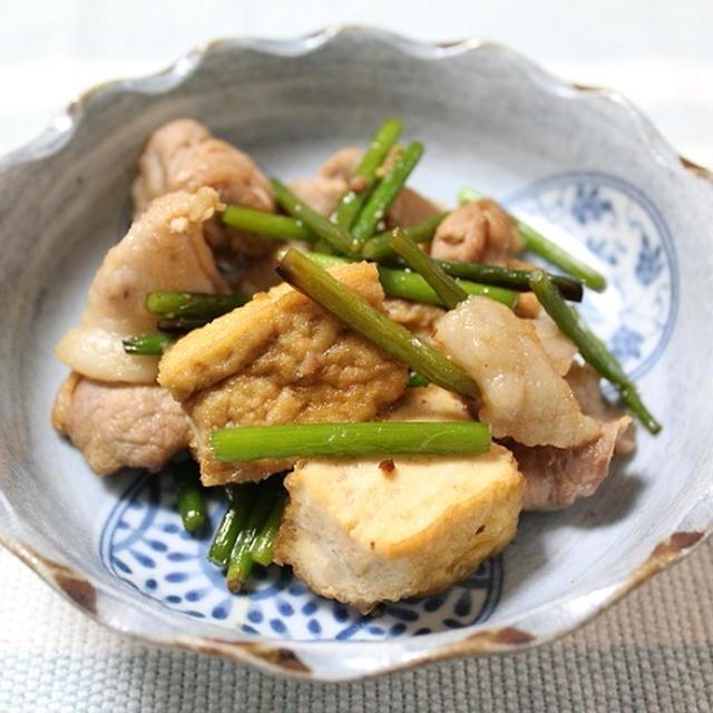 豚肉とにんにくの芽と厚揚げのオイスターソース炒め 調理時間5~15分