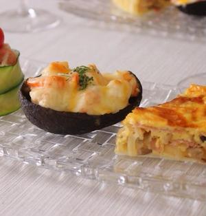 とろ〜りアツアツ☆アボカドボート&生ハムとキノコのキッシュ&大人味なポテトサラダ