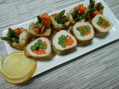 塩麹ささみの野菜ロール