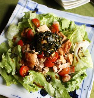 カリカリチキンのスタミナニラだくサラダ