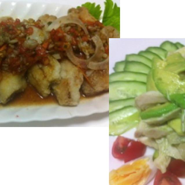 飛び魚のトマト南蛮、塩麹蒸し鶏とアボカド、焼きなすポン酢 他