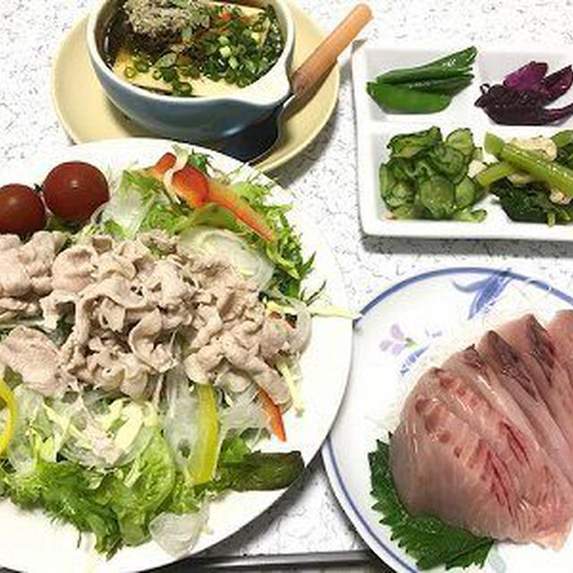 豚肉の冷しゃぶサラダと鰆の刺身