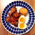 鶏手羽元と煮卵のウスターソース煮