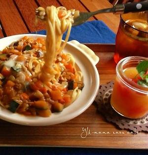 チーズ絡まる♡鶏ひき肉とカボチャの和風カレーパスタ。