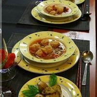 ◆鶏団子のスパイシートマトスープ♪~キュウリのQちゃん♪