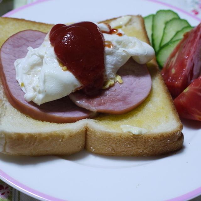 <ハムとポーチドエッグのトースト>で朝ご飯♪