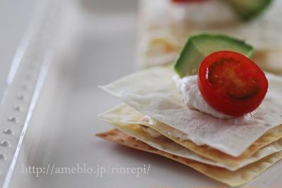 味噌ドリップヨーグルトとサーモンのワンタンミルフィーユ