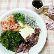 たまご豆腐の春旬盛り わさポン風味